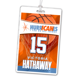 basketball hoop basket laminate rectangle sport bag tags luggage badges customized personalized number name