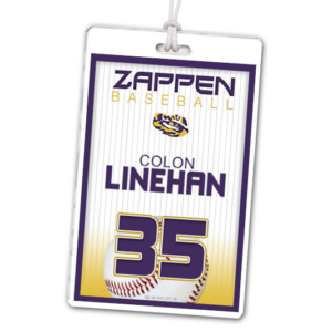 baseball team pin strips laminate rectangle sport bag tags luggage badges customized personalized number name