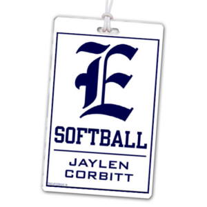 softball laminate rectangle sport bag tags luggage badges customized personalized number name