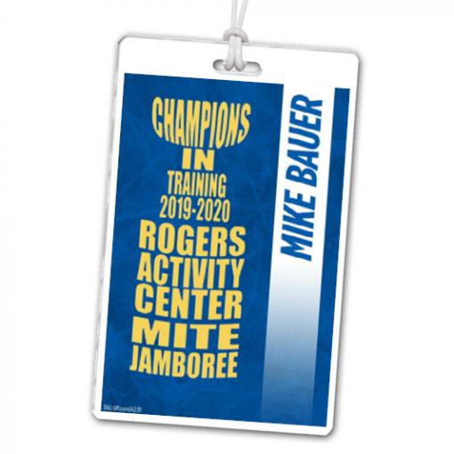hockey jamboree event laminate rectangle sport bag tags luggage badges customized personalized number name