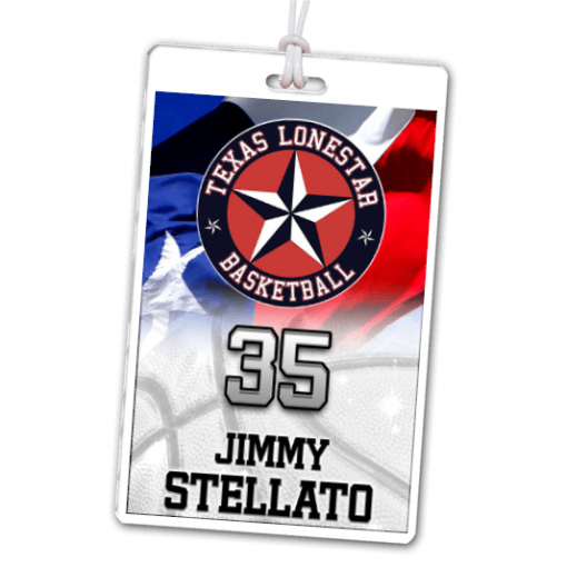 texas flag basketball laminate rectangle sport bag tags luggage badges customized personalized number name