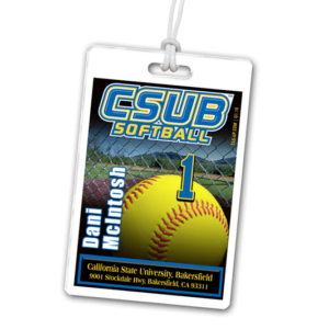 softball field ball laminate rectangle sport bag tags luggage badges customized personalized number name