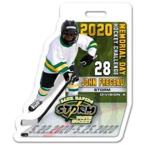 Ice Hockey 3D Player stick profile bag tag
