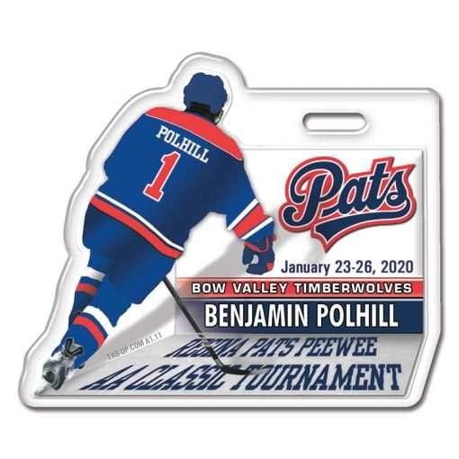 Ice Hockey 3D Player back profile bag tag