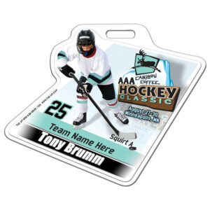 Ice Hockey 3D Player Kid stick profile bag tag