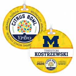 sporting event department credentials bag tags luggage badges customized personalized number name title date place city