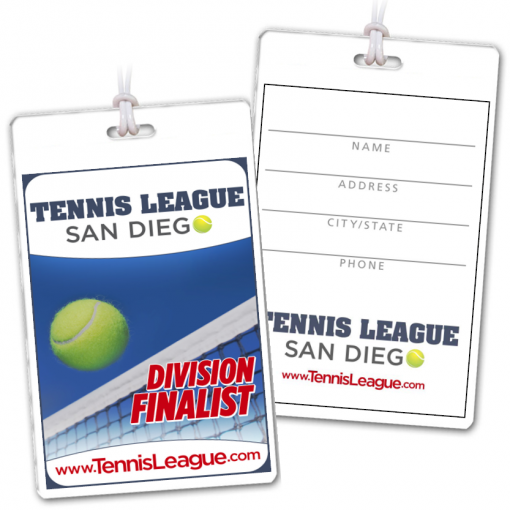 tennis sports event tournament department credentials bag tags luggage badges customized personalized number name title address city phone