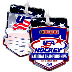 ice hockey event credentials bag tags luggage badges customized personalized number name title address phone write in enter text