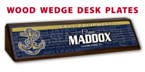 athletics equipment desk office nameplate customizable team color logos personlization individualize name title wood wedge desk plates