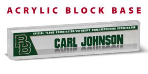 athletics football acrylic block base desk office nameplate customizable team color logos personlization individualize name title