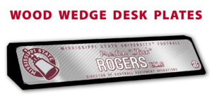football athletics department college university wood wedge desk plates desk office nameplate customizable team color logos personlization individualize name title pin strips