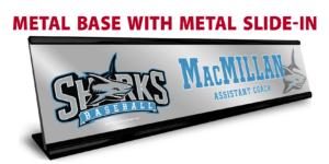 baseball black metal base metal slide in desk office nameplate customizable team color logos personlization individualize name title branding