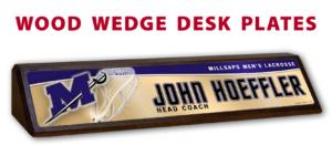 lacrosse athletics wood wedge desk plates desk office nameplate customizable team color logos personlization individualize name title sport