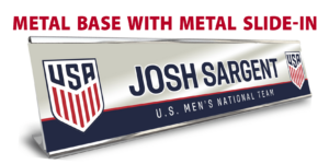 soccer department metal base with slide in desk office nameplate customizable team color logos personlization individualize name title