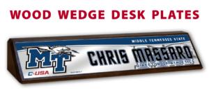athletics wood wedge desk plates desk office nameplate customizable team color logos personlization individualize name title sport