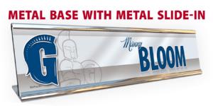 athletics metal base slide desk office nameplate customizable team color logos personlization individualize name