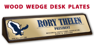 business company wood base desk office nameplate customizable brand color logos personlization individualize name