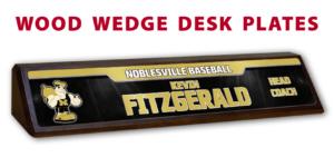 baseball wood base desk office nameplate customizable team color logos personlization individualize name number