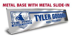 athletics team metal base slide in desk office nameplate customizable team color logos personlization individualize name title