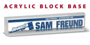 athletics branding acrylic blocks base desk office nameplate customizable team color logos personlization individualize name title