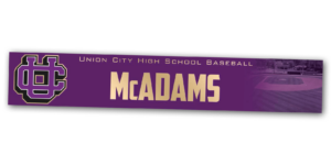 baseball gold metallic metal locker nameplate customizable team color logos personlization individualize name number basketball