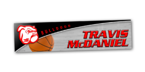 silver metallic metal locker nameplate customizable team color logos personlization individualize name number basketball