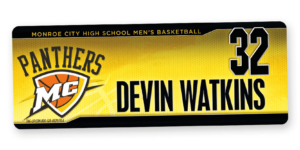 traditional standard locker nameplate workout room office customizable team color logos personlization individualize name number mens basketball high school