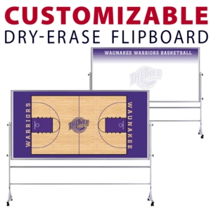 basketball court with team logo back dry-erase board whiteboard portable flipboard