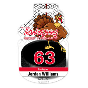 ice hockey turkey thanksgiving puck custom bag luggage tag