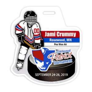 ice hockey player puck stick custom bag luggage tag