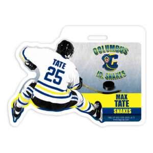 ice hockey player stick puck jersey custom bag luggage tag
