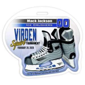 ice hockey player skate custom bag luggage tag