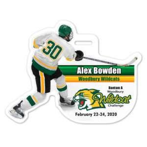 Ice Hockey Player individualized customizable profile bag tag
