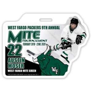 Ice Hockey Player skating branding color profile bag tag
