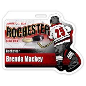 customize Ice Hockey Player skating individualized profile bag tag