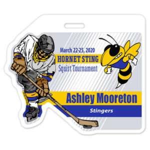 Ice Hockey Player skating individualized customizable profile bag tag