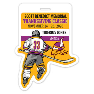 Ice Hockey Player skating individualized profile bag tag
