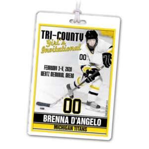 customizable laminate classic bag tag ice hockey
