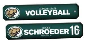 customizable individualize acrylic locker nameplate branding logo sport volleyball