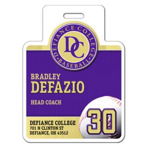 Ready to order baseball profile bag tag square shape customizable featuring baseball team colors logo