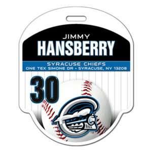 Ready to order baseball profile bag tag customizable featuring baseball pin strips team colors logo