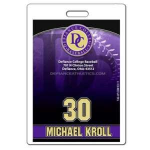 Ready to order baseball laminate bag tag customizable featuring baseball team colors logo