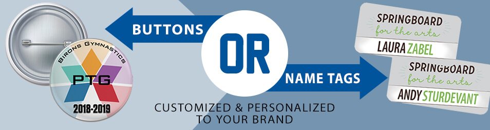 buttons name tags individualized personalized customized to shape size title names materials