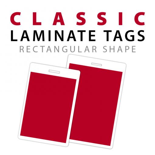 classic rectangle shape laminate bag tags