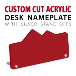 custom cut acrylic desk nameplate with pins