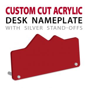 custom cut acrylic desk nameplate with pins