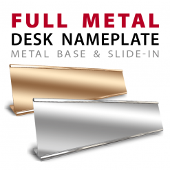 custom full metal slide in desk nameplates