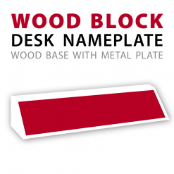 customizable wood block desk nameplate