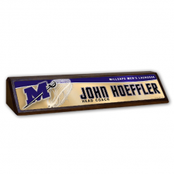 custom wood desk nameplate with metal plate