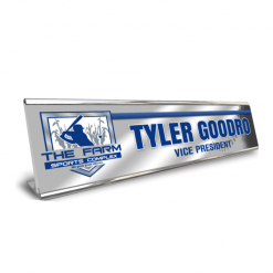 Metal desk nameplate